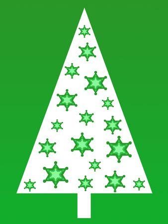 Green stars christmas tree Stock Photo