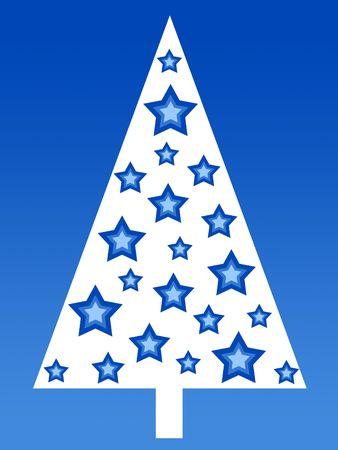stary: Blue stary christmas tree Stock Photo