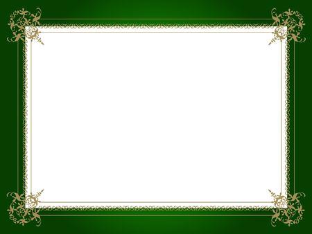 Decorative golden border on green Stock Photo