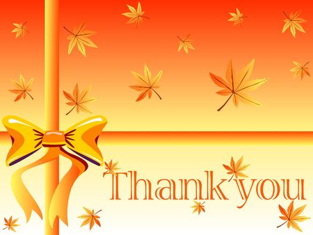 thanks giving: Thank you card with maple leaves and a bow