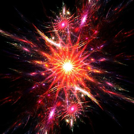 Colorful fractal fireworks Stock Photo