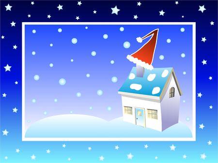 Christmas santa hat on chimney