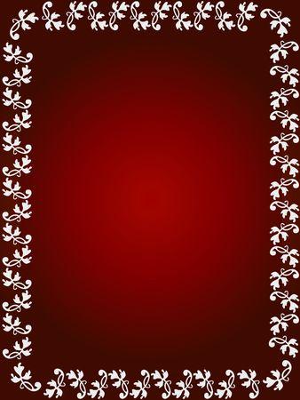 Floral frame on red background