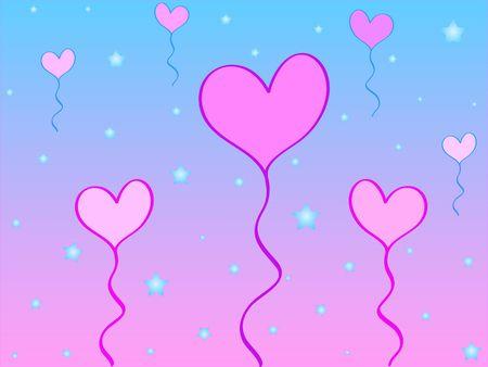Heart shaped balloons and stars