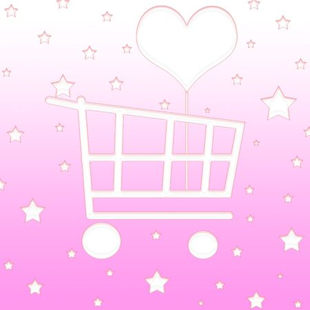 Shopping cart with hearts and stars