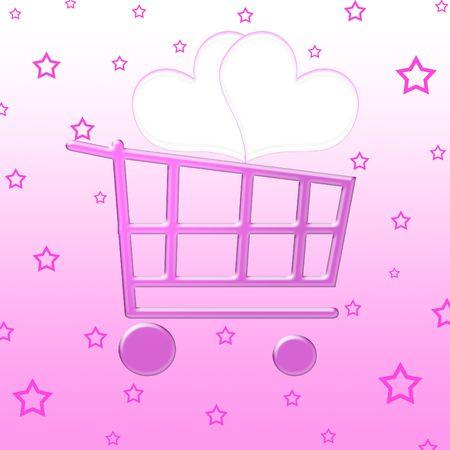 Valentine shopping cart photo