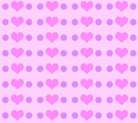Hearts and floral wallpaper Stock Photo
