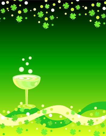 Shamrocks border and wine glass Stock Photo - 776748