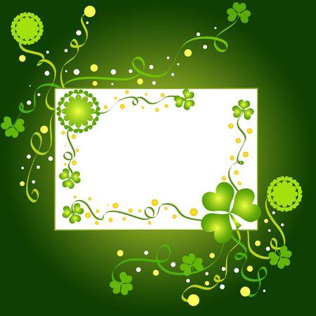 Green shamrocks and floral frame