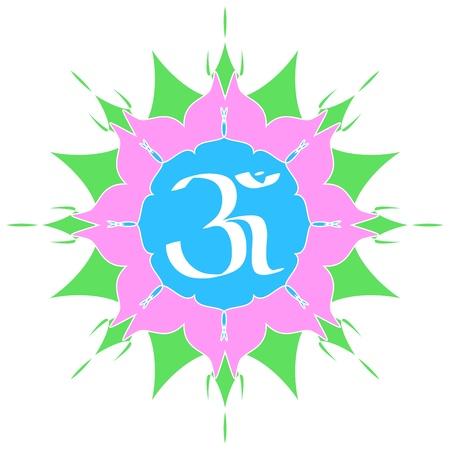 Divine OM symbol on flower