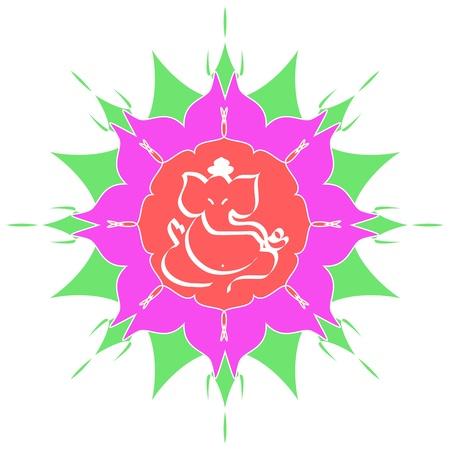 Indian God Ganesha on flower Stock Photo