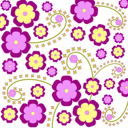 Artistic violet flowers pattern