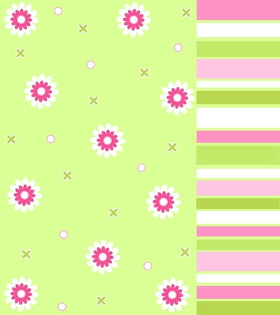 Pink flowers and stripes photo