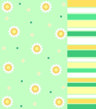 Yellow flowers and stripes Stock Photo