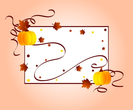 Autumn leaves and pumpkins frame photo