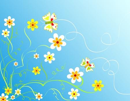 mariposas amarillas: Flores y mariposas