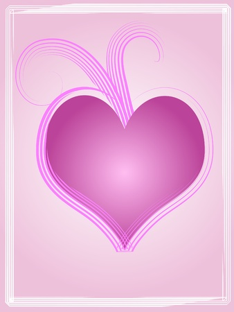 Pink heart with grunge border