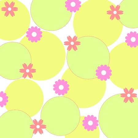 Spring flowers design on green