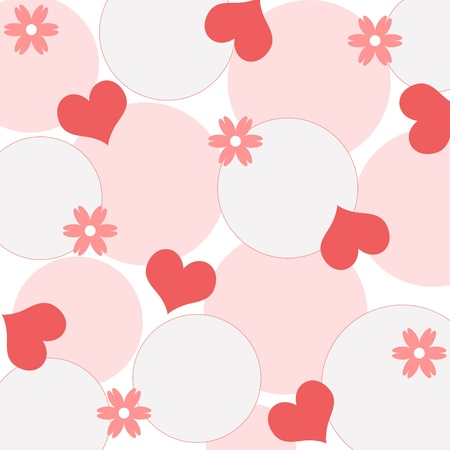 Hearts and flowers pattern Stock Photo