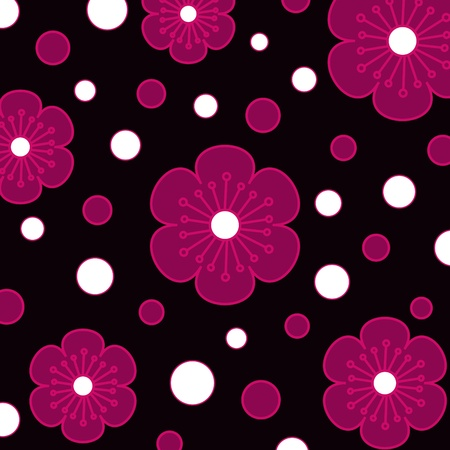 Pink flowers and circles pattern