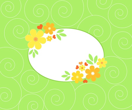 Flowers frame on green