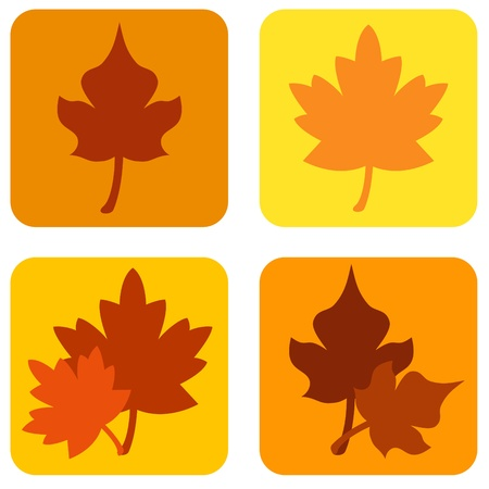 Autumn leaves icons Stock Photo
