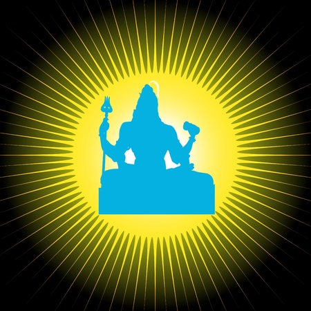 indian god: Indian God Shiva with sun in background