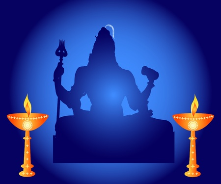 Indian God Shiva with lamps