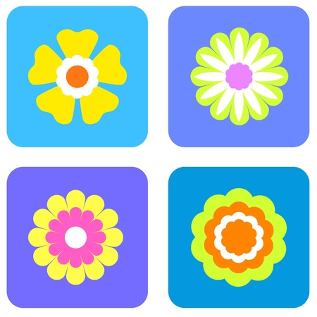 Colorful flowers icons Stock Photo
