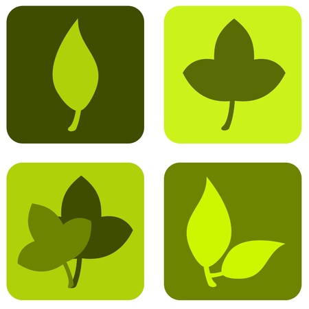Green leaves icons Stock Photo
