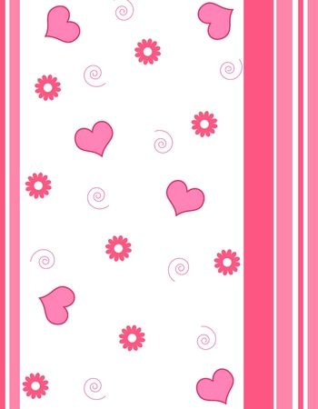 Hearts , flowers and stripes pattern