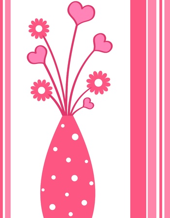 Pink vase with flowers and hearts photo