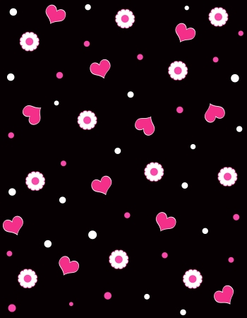 Hearts and floral pattern Stock Photo