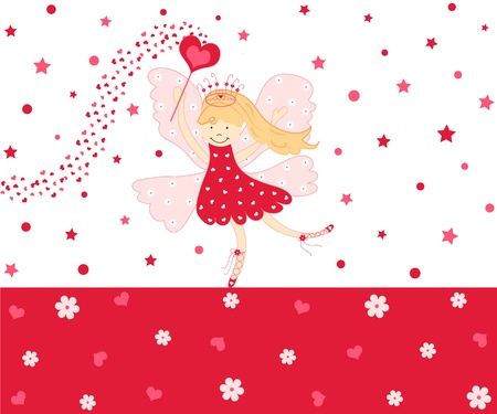 Cute red love fairy Stock Photo