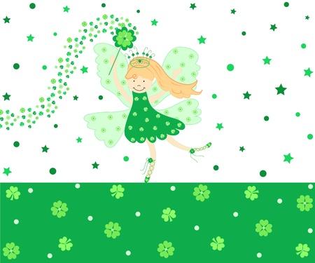 Cute green good luck fairy