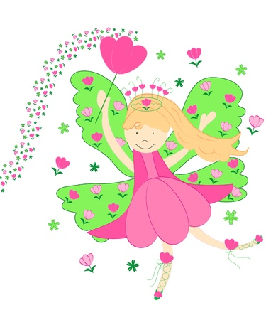 Cute pink tulips fairy Stock Photo