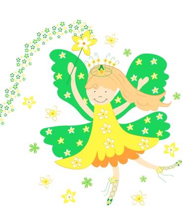 Cute yellow daffodil fairy