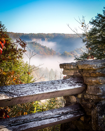 An Autumn Morning Foggy Vista Stock fotó