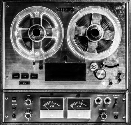Reel to Reel in Black and White Banco de Imagens