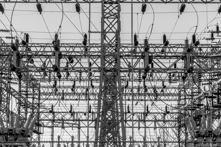 Black and White Electrical Substation