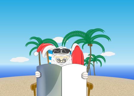 santa relaxing and reading on the beach illustration