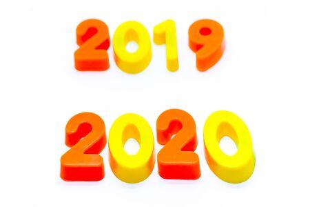 '2019' and '2020' written in blocks of numbers 版權商用圖片