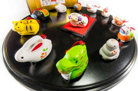 Twelve animals to decorate on New Year's Day in Japan (the central animal is the main character of the year) The letters written behind represent the names of twelve kinds of animals.