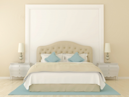 Bedroom in soft beige colors with blue decoration   Stock Photo