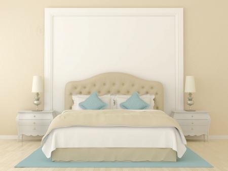 łóżko: Sypialnia w kolorach delikatnego beżu z niebieskim dekoracji