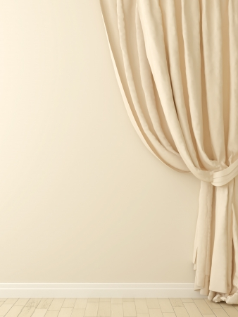 luxury interior: Composition of the elegant beige curtains against a beige wall Stock Photo