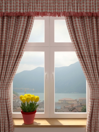 window curtains: Window with a wonderful view and decorating in country style curtains Stock Photo
