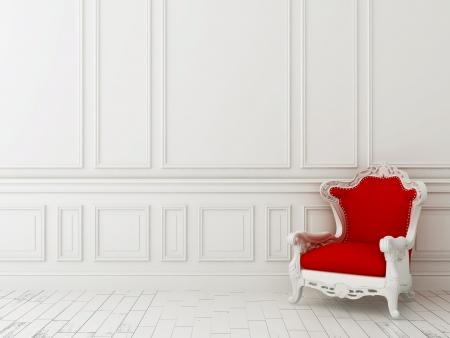 Rood klassieke fauteuil tegen een witte muur en witte vloer