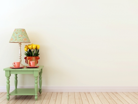 creates: The interior in the style of Provence which creates spring mood and consisting of green tables with two coffee cups, tulips and elegant table lamp