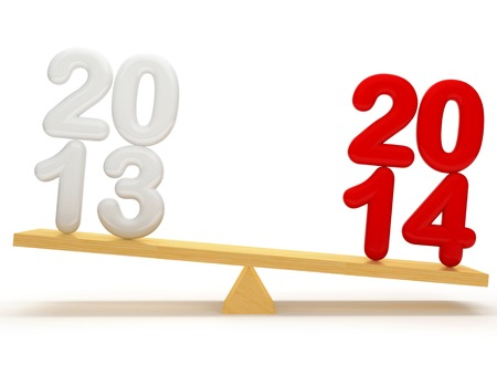 overbalance: Overbalance between old year and new year, which are located on the wooden stake.